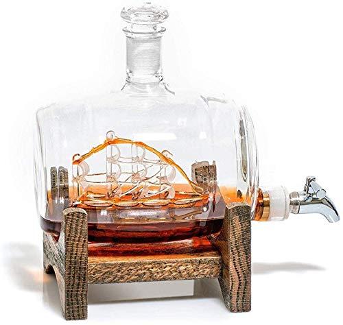 KPTKP Botella de Vidrio de Forma de Barril de Vino, decantador de Whisky de 500 ml, decoración Exquisita del Barco, Base de Madera Maciza, Grifo de Acero Inoxidable