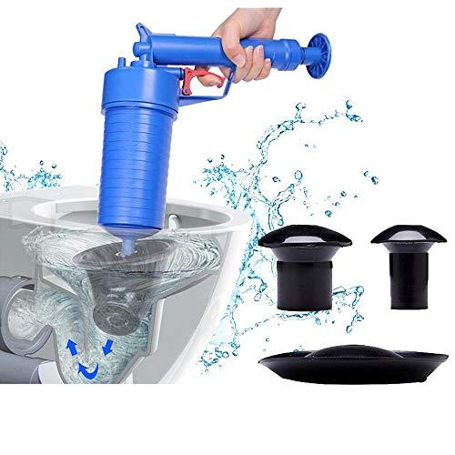 Preisvergleich Produktbild Rohrreiniger Druckluft,  Toiletten-Pömpel Abflussreiniger Saugglocke Pressluft-Rohrreinigungspistole mit handlichem Pistolengriff und 4 Aufsätzen für Toilette Bad Küche