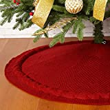 Sattiyrch Christmas Tree Skirt, 36 inches Luxury Cable Knit Knitted Thick Rustic Xmas Holi...