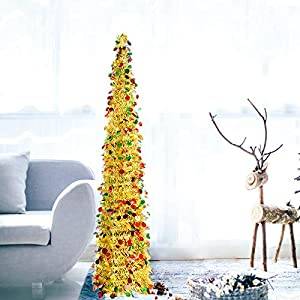 DOYOLLA Collapsible Artificial Christmas Tree , Pop Up Tinsel Coastal Xmas Tree for Home & Party & Office & Fireplace Holiday Decorations (Gold, 5ft)