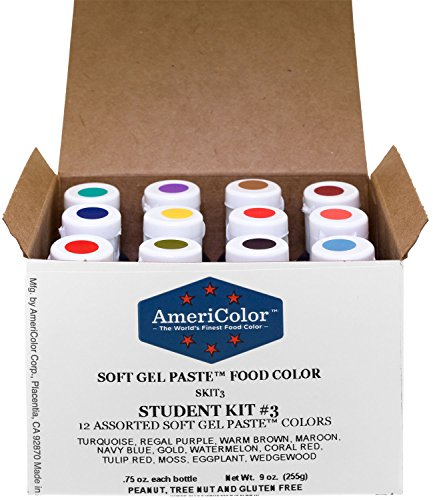 AmeriColor Food Coloring Kit 12 Bottles (.75 Ounce each) Soft Gel Paste Colors