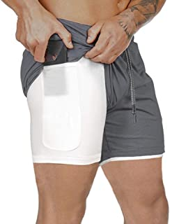 WOTHONPIS Men's 2 in 1 Workout Shorts Quick Dry Athletic Gym Shorts Double Layers Zipper Pocket Running Shorts
