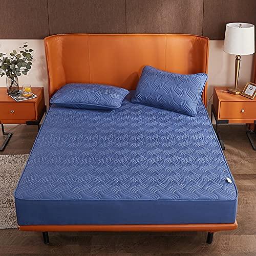 HAIBA Colcha de algodón de patchwork, incluye edredón acolchado transpirable, azul 001,150 x 200 cm + 25 cm