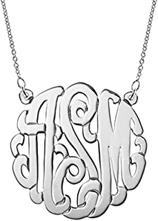 Sterling Silver Custom Monogram Necklace - personalize with your initials (16