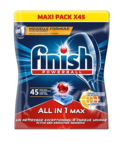Finish Tablettes de lavage pour lave-vaisselle, blancheur au bicarbonate - 45 tablettes, 733,5g