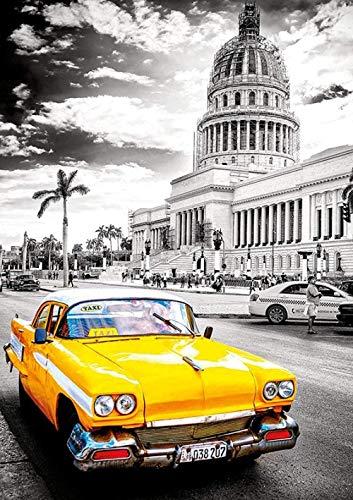 ZYYSYZSH Puzzles 1000 Piezas Adultos De Madera Rompecabezas Niños Educación Rompecabezas Juguetes DIY Rompecabezas Classic Decoración para El Hogar,Taxi En La Habana