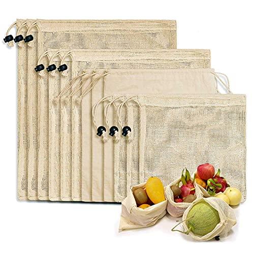 DealMux Bolsas de compras reutilizables, 12 juegos de bolsas de productos reutilizables Bolsas de algodón orgánico lavables y sin plástico Bolsas de compras sin residuos para juguetes de frutas y ver