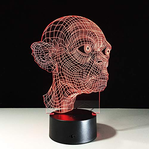 Lámpara de mesa 3D LEDUSB Tema de terror Decoración de fiesta Cabeza Broma Decoración de luz nocturna