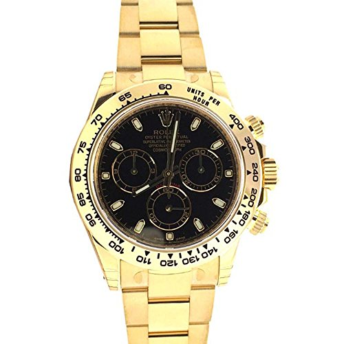 Rolex Cosmograph Daytona 40 Black Dial Gold Men's Watch 116508