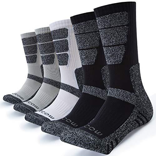 KEECOW Socken Herren 5 paar Wandersocken Trekkingsocken für Herren Atmungsaktiv Sportsocken Hochleistung (Schwarz / Weiß / Grau, 38-43)