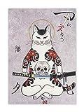 CoolChange - Quadro da parete con gatti giapponesi, in stile Ukiyo e su lastra in schiuma dura, 30 x 42 cm, motivo: gatto Samurai