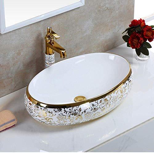 Handbeschilderd Vaartuig wastafel kom in de ovale keramische badkamer aanrecht wastafel