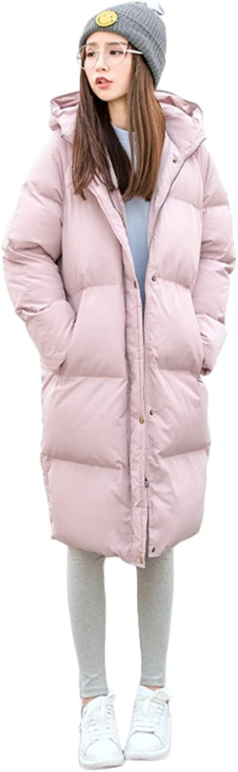 Hooded Down Jacket Women Winter Warm Long Sections Zipper Down Coat (color   Pink, Size   M)