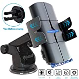 Automatic Clamping Wireless Car Charger, QC 3.0 QI 10W Fast Charging Car Mount, Windshield Dashboard Air Vent Phone Holder for iPhone 11 11 Pro Max Xs MAX XS XR X 8+, Samsung S10+ S9+ S8 Note 9, etc
