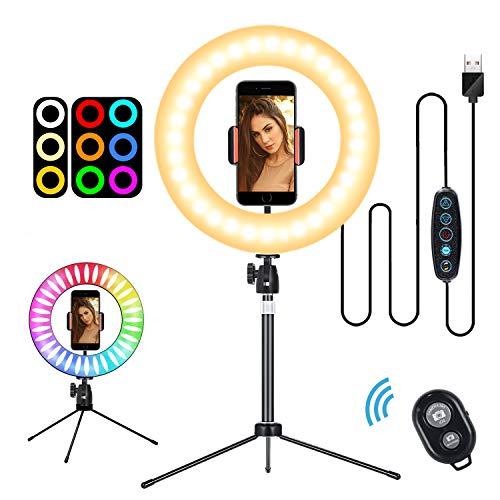 Selfie Ringleuchte Stativ mit Fernbedienung-Tischringlicht mit 3 Farbe und 10 Helligkeitsstufen, Live Licht für schöne Fotos oder Videosschooting, live Streaming, Portrait, schminken usw