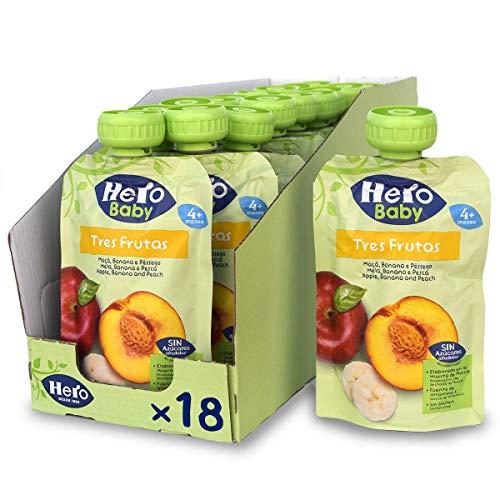 Hero Baby Bolsitas 3 Frutas - Para Bebés a Partir de los 4 Meses - Pack de 18 x 100 g