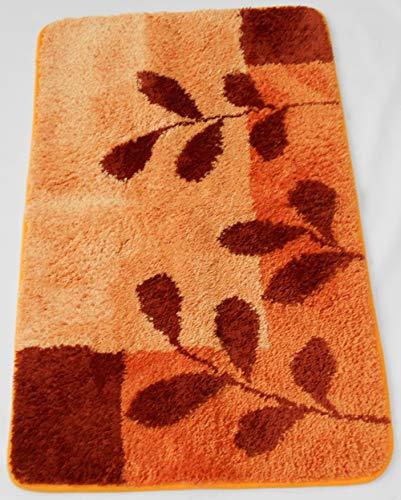 MB Warenhandel24 Badematte Badvorleger Badteppich Designer Grafik oder Farbverlauf Uni einfarbig 4 Größen 2 Varianten (Teppich Leaves Terra, ca. 70x120 cm)