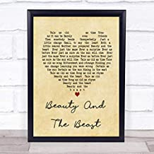 Beauty and The Beast Vintage Heart Song Lyric Quote Print