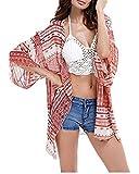 Uniquestyle Damen Sommer Boho Chiffon Kimono Stil Gedruckt Tops Jacke Cardigan Blusen Beachwear(One Size Rot)