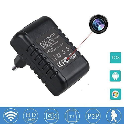 Caméra espion sans batterie requise HD 1080p WiFi Caméra cachée Adaptateur mural P2P Détecteur de mouvement Compatible IOS Android Smartphone...