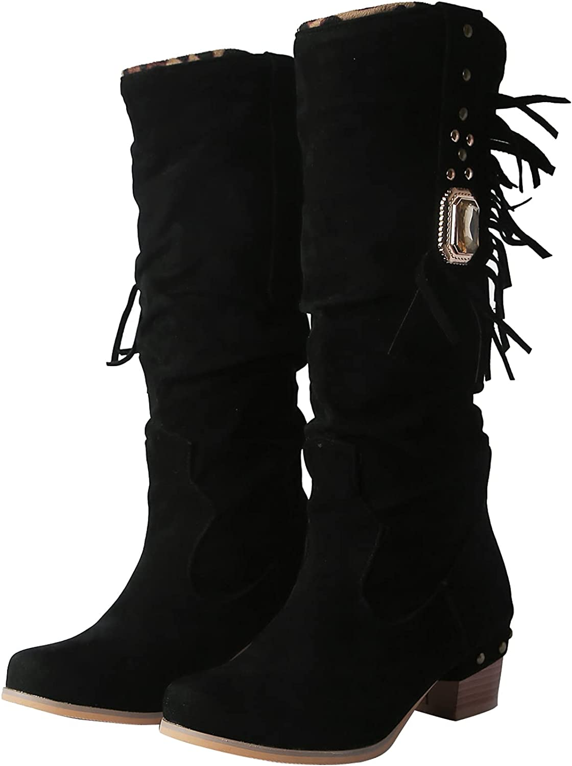 DunaCuna Women Slouch Boots Mid Calf Block Mid Heel Pull On Stacked Knee Boots Fashion Round Toe Retro Boots