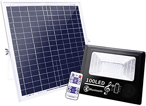 GANE 100 LED Solar Floodlight Outdoor, Patio Solar Light with Remote Control and Bluetooth Speaker, 3 Timing, 4 Modes Dimmable, IP67 Waterproof Security Lights
