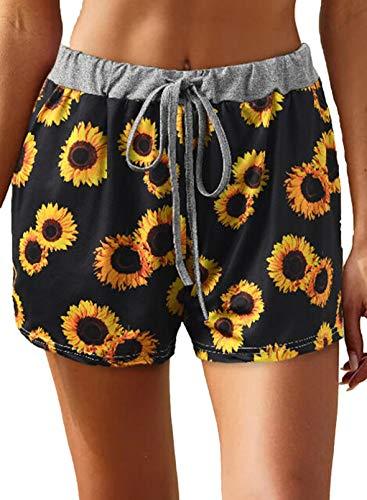 FOBEXISS Pantalones calientes de verano con cintura elástica y estampado de girasol para mujer