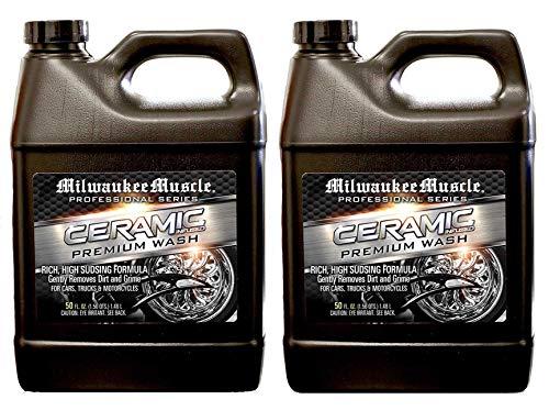 Milwaukee Muscle Premium Car Wash Pack de 2 – Incluye dos botellas de 50 onzas de jabón profesional de cerámica para autos, coches, motocicletas, RV y barcos – Fórmula neutra pH – rejuvenece la pintura y revestimiento de cerámica para coches