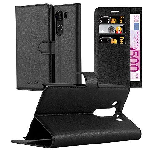 Cadorabo Hülle für LG V10 - Hülle in Phantom SCHWARZ – Handyhülle mit Kartenfach & Standfunktion - Case Cover Schutzhülle Etui Tasche Book Klapp Style