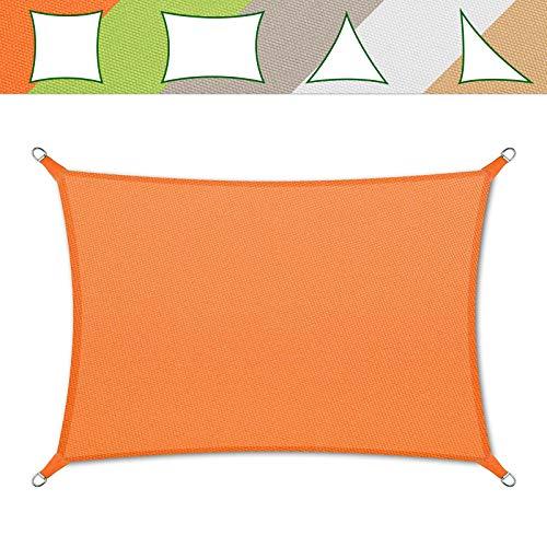 casa pura® Sonnensegel wasserabweisend imprägniert | Testnote 1.4 | Rechteck | UV Schutz Größen (orange, 3x5m)
