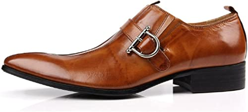 NIUMT Chaussures en Cuir Cuir Cuir Hommes, Chaussures, Pointues, Affaires, Chaussures De Travail, Mode, Absorption des Chocs, Chaussures Basses, Talons épais 8a4