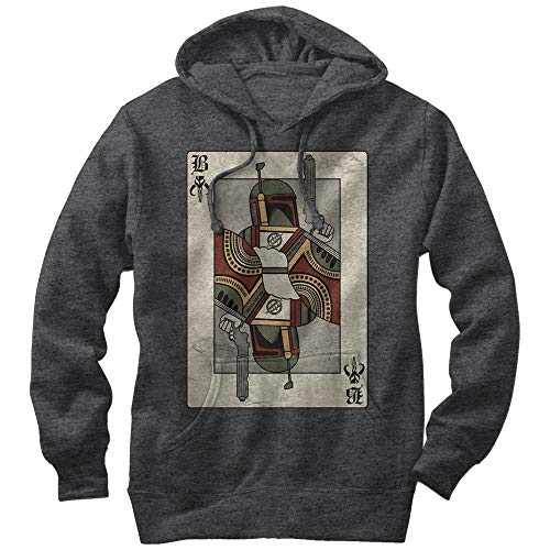 Men's Star Wars Boba Fett Playing Card Pull Over Hoodie - Charcoal Heather - X Large