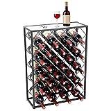 Display4top Botellero con Tablero para 32 Botellas para Vino Estante de Vino con Mesa de Vidrio, Ideal para Bar Bodega de vinos Sótano Gabinete Despensa Despensa Cocina, Negro