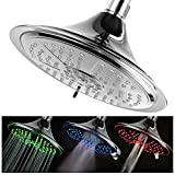 Hotel Spa Ultra-Luxury Extra-large 8 Inch Chrome Face 5-Setting Rainfall LED Shower-Head by Top Brand Manufacturer. Color of LED lights changes automatically according to water temperature