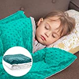 Roore 10 lb Weighted Blanket for Kids I 41x60 I Weighted Blanket with Plush Minky Removable Cover I Weighted with Premium Glass Beads I Perfect for Children from 80 to 125 lb (Teal, 10 lb 41'x60')