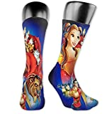 NA Calcetines deportivos unisex, calcetines 3D de la bella y la bestia Seafarer calcetines calcetines cortos de personalidad de lujo 40 cm