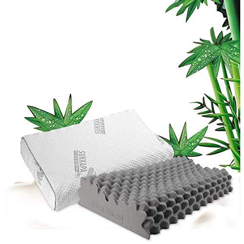 Kingten Bamboo Latex Contour Pillow for Neck Pain,Cervical Pillow,Ergonomic Cervical Pillow,Latex Foam Pillow