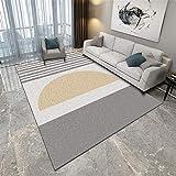 La alfombras Antideslizante para alfombras Alfombra de diseño Minimalista Gris y Amarilla Antideslizante y fácil de Limpiar alfombras para Comedor Alfombra Oficina 180X280CM