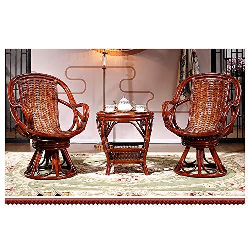 MEI XU Tejidas a Mano Rota Natural y cóctel de Madera Maciza Tabla 3 Piece sillas de Patio al Aire Libre Juego de Patio Mesa Mesa de Centro con Almacenamiento for la Sala @ (Color : Brown)
