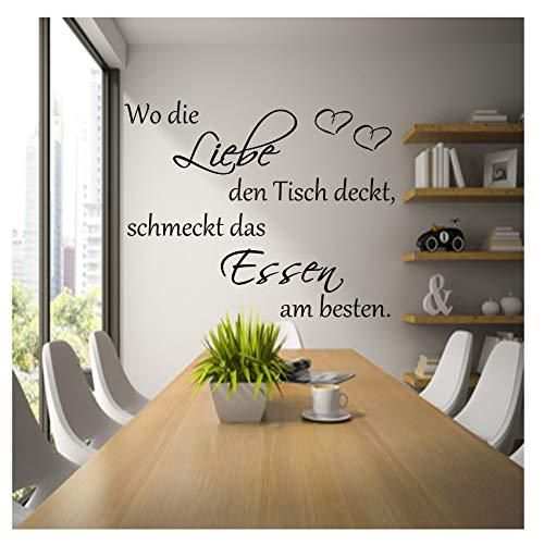 Wandschnörkel® Wandtattoo AA050 Küche ~Wo die Liebe den Tisch deckt,schmeckt das Essen am besten~Wandaufkleber Sprüche Zitate ++ VIELE FARBEN