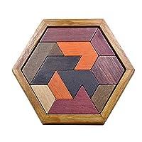 Biggystar 子供のための木製テトリスジグソーパズル、 11個のタングラムゲーム、ウッドジグソーボックスブレインティーザー 幼児向け教育玩具123歳 polite