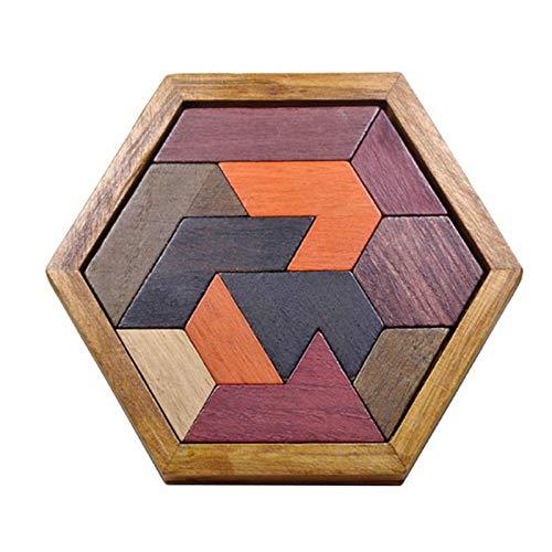 Luckxing Rompecabezas hexagonales de madera, 11 piezas, forma de bloque tanzangram, juguete lógico, formas geométricas, juego de IQ Montessori, regalo pedagógico para todas las edades y desafíos
