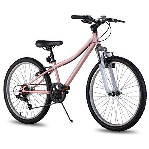 Hiland Climber - Bicicleta de montaña para niños de 24 pulgadas con horquilla de suspensión; Shimano 6 velocidades y freno en V