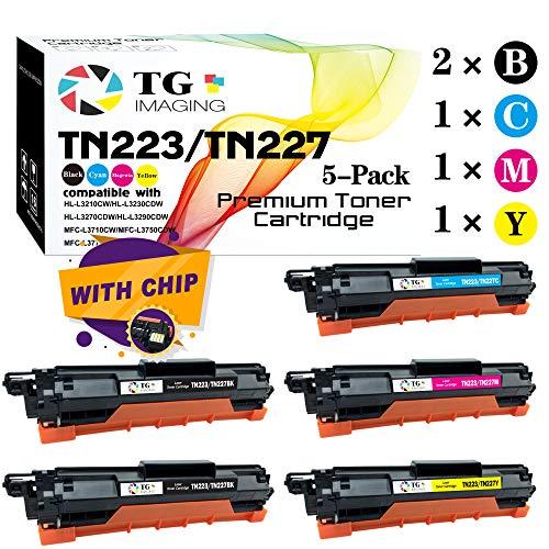 (5-Pack, 2X B+C+Y+M) TG Imaging Compatible TN-223 TN-227 Toner Cartridge Use for Brother HL-L3210CW HL-L3230CDW HL-L3270CDW HL-L3290CDW MFC-L3710CW MFC-L3750CDW MFC-L3770CDW Printer