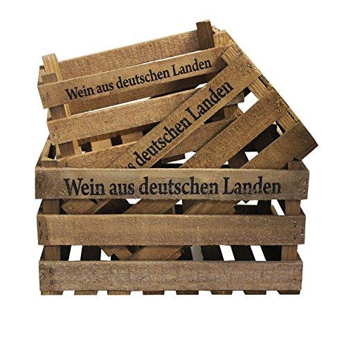 3er Set Deko Weinkiste mit Aufdruck Wein aus deutschen Landen