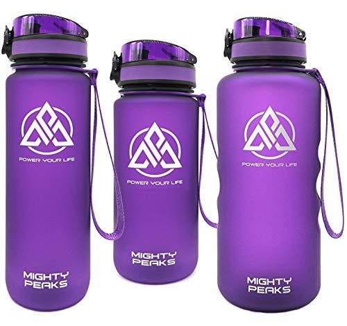 MIGHTY PEAKS Tritan Sport-Trinkflasche 1 l BPA frei, Wasserflasche 1liter, Purple, Lila, Trinkflasche Kinder, Plastik-Flasche 1l Sportflasche für Fahrrad, Fitness, Fussball, Kinder, Sport