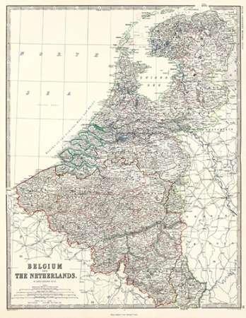 AFDRUKKEN-op-GEROLDE-CANVAS-België,-Nederland,-1861-Johnston-AlexanderKeith-museo-Afbeelding-gedruckt-op-canvas-100%-katoen-Opgerolde-canvas-print-Kunstdru-Afmeting-113_X_89_cm