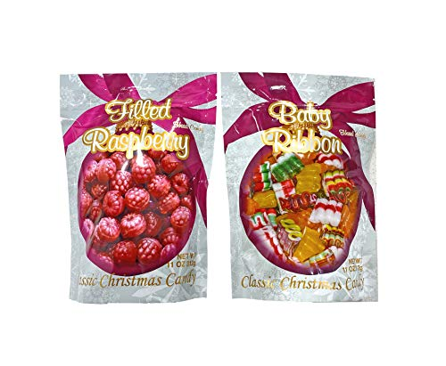Primrose Old Fashion Christmas Hard Candy - Bundle of 2 Bags: Baby Ribbon and Filled filled Raspberry - Holiday Gourmet Food Gift