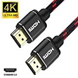 Cable HDMI 4K 1m-Snowkids Ultra High Speed 18 Gbps HDMI 4K a 60 Hz Cable Trenzado de Nylon Compatible con Fire TV, Soporte 3D, Ethernet, Video 4K UHD 2160p, HD 1080p - Xbox 360 PS3 PS4-Negro