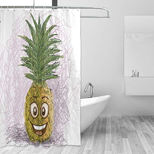 Ahomy Duschvorhang Happy Ananas wasserdichte Polyester Stoff 182,9 x 182,9 cm Duschvorhang mit 12 Haken